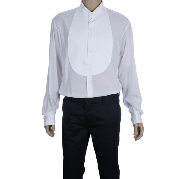 Giorgio Armani Camicia Da Sera White Cotton Tuxedo Men's Shirt EU58
