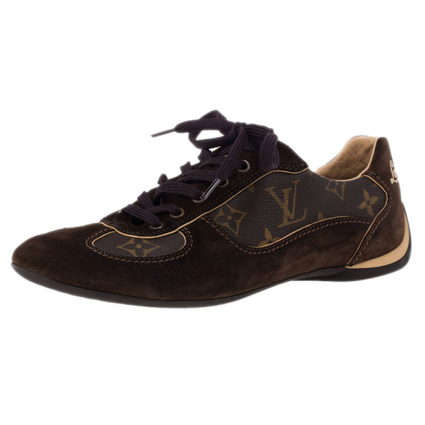 Louis Vuitton Brown Offshore Sneakers In Mix Patchwork Size 37.5