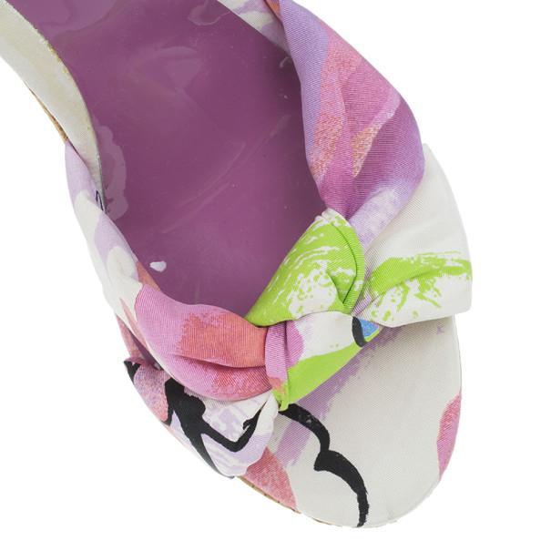 Jimmy Choo Purple Gleam Printed Cork Wedge Sandals Size 41