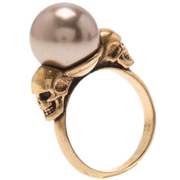 Alexander McQueen Faux Pearl Skull Ring Size 54
