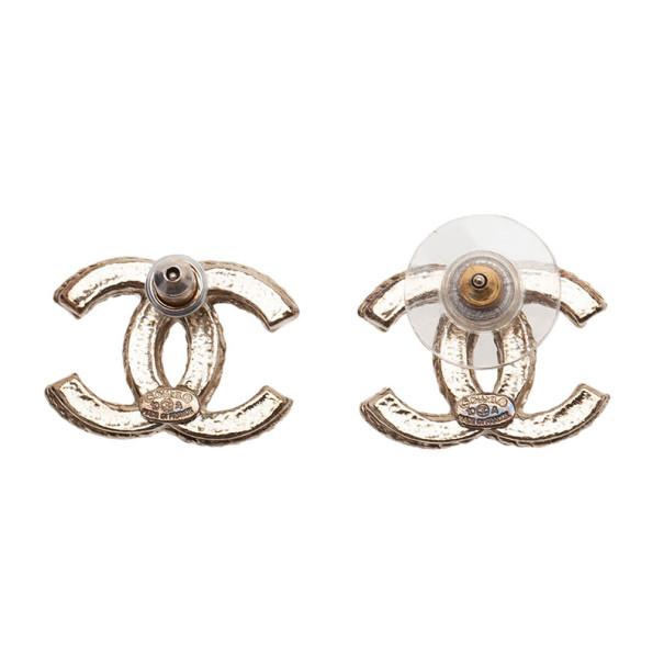 Chanel CC Logo Gold Tone Earrings