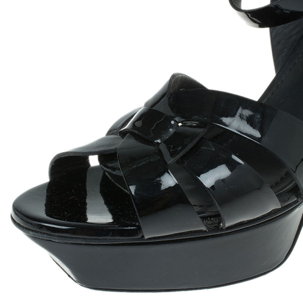 Saint Laurent Paris Black Patent Tribute Platform Sandals Size 38