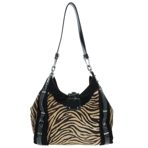 Celine Zebra Fur Print Dimitri Hobo