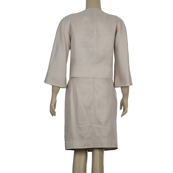 Fendi Collarless Silk Skirt Suit M