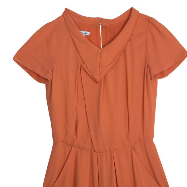 Oscar de la Renta Orange Silk Dress S