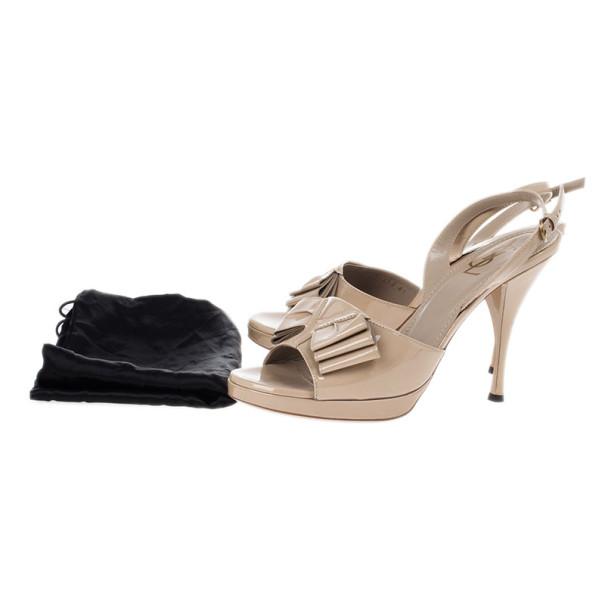 Saint Laurent Paris Beige Patent Y-Bow Platform Sandals Size 41