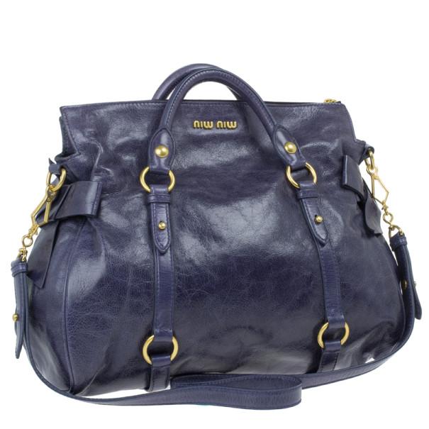 Miu Miu Purple Leather Bow Satchel
