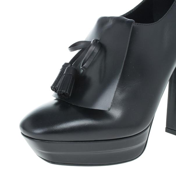 Bottega Veneta Black Leather Tassle Front Ankle Boots Size 39.5