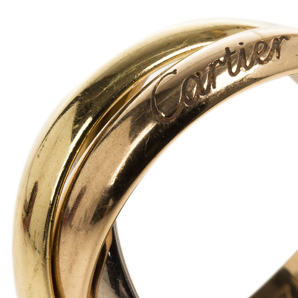 Cartier 18K Gold 3-Tone Trinity Ring Size 52