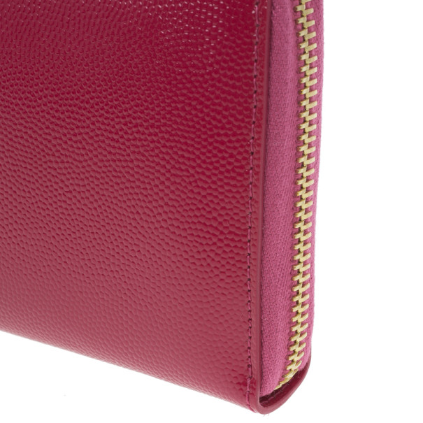 Saint Laurent Paris Pink Leather Zip Around Wallet