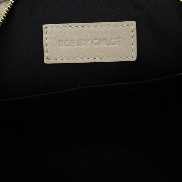 Chloe Cream Leather Leonie Clutch