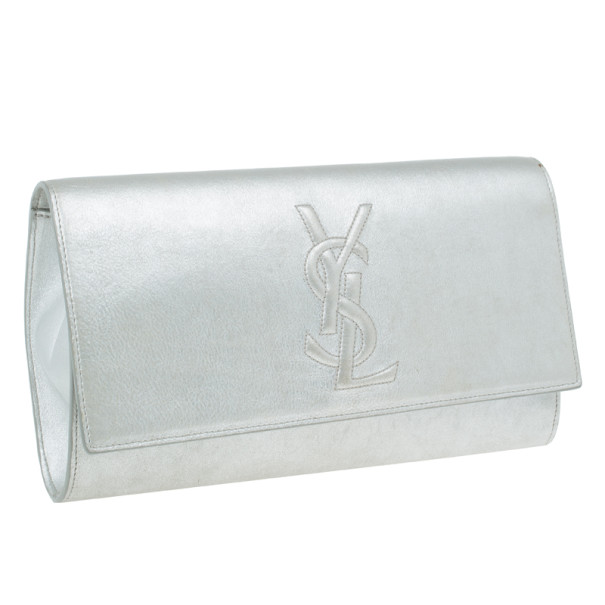 Saint Laurent Paris Silver Leather Foldover Clutch
