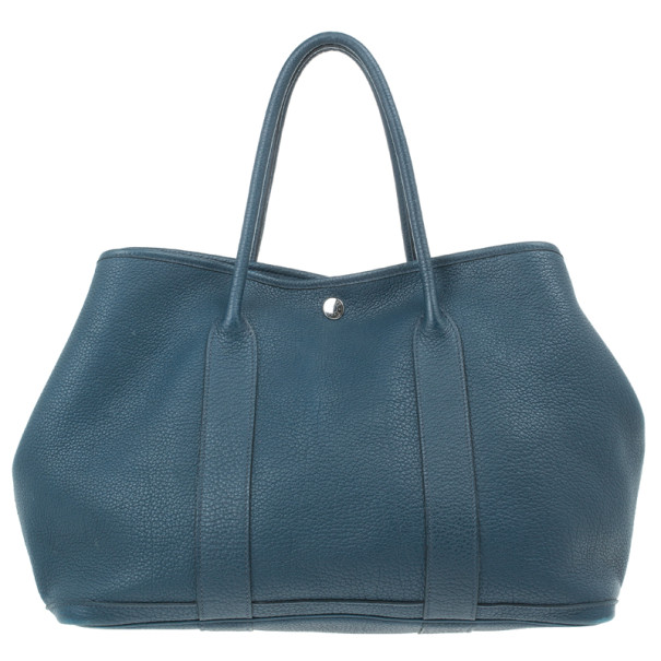 Hermes Blue Leather Garden Party Tote