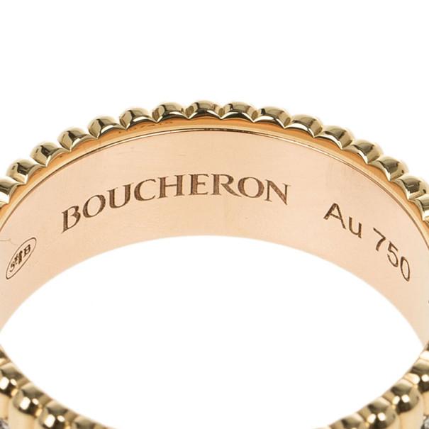 Boucheron Quatre Classic Small Ring with Diamonds Size 52