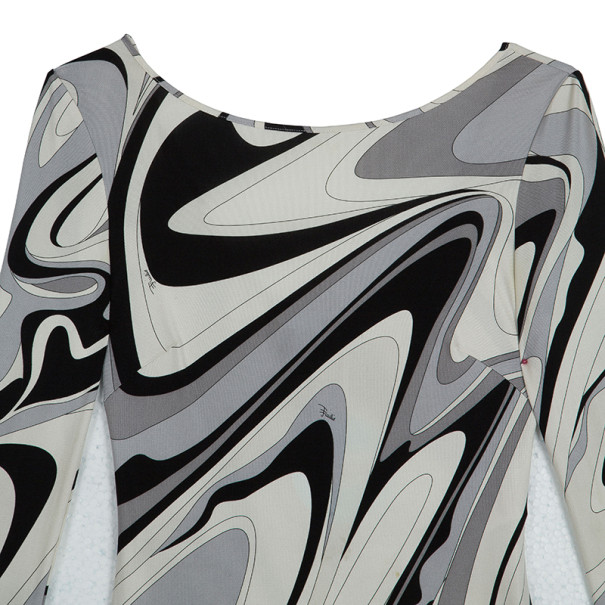 Emilio Pucci Monochrome Print Stretch Dress S