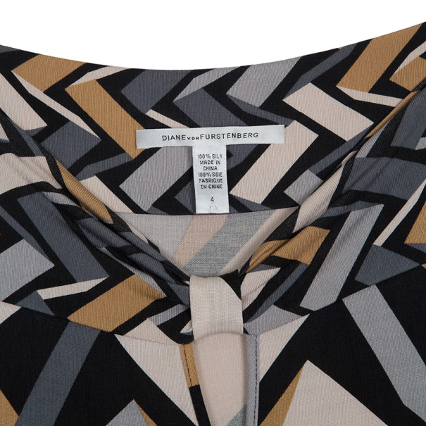 Diane von Furstenberg Brown & Grey Geometric Print Lily Dress S