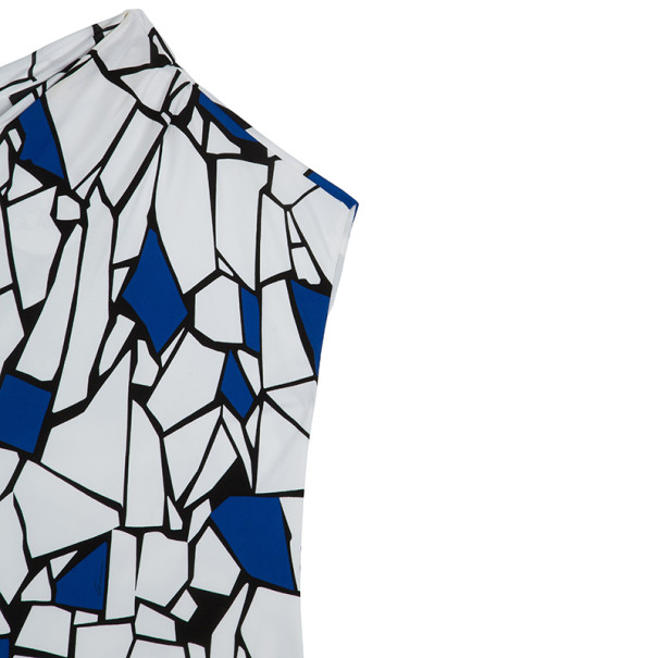 Gucci Blue & White Abstract Print Stretch Dress M