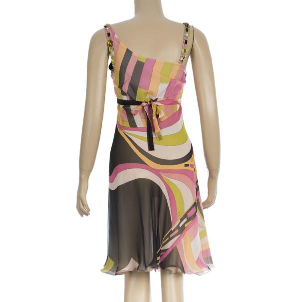 Emilio Pucci Embellished Chiffon Cocktail Dress S