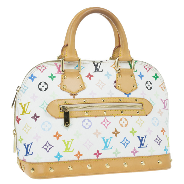 Louis Vuitton White Multicolore Canvas Alma