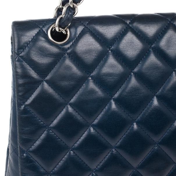 Chanel Navy Blue Classic Maxi Flap Bag