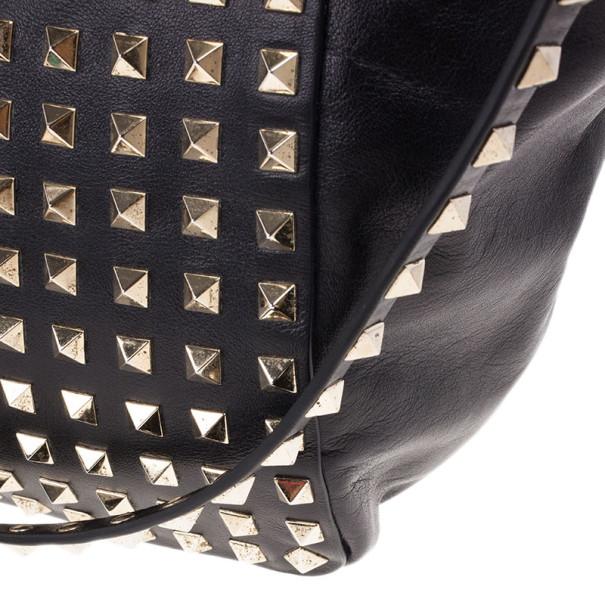 Valentino Black Leather Rockstud Tote