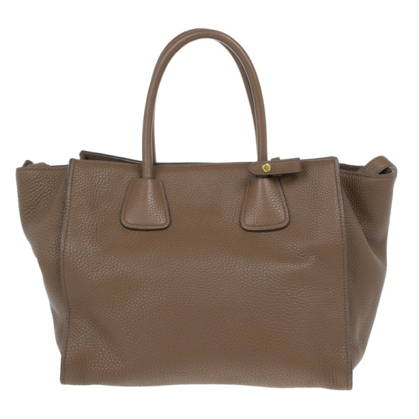Prada Brown Palissandro Vitello Daino Leather Top Handle Bag