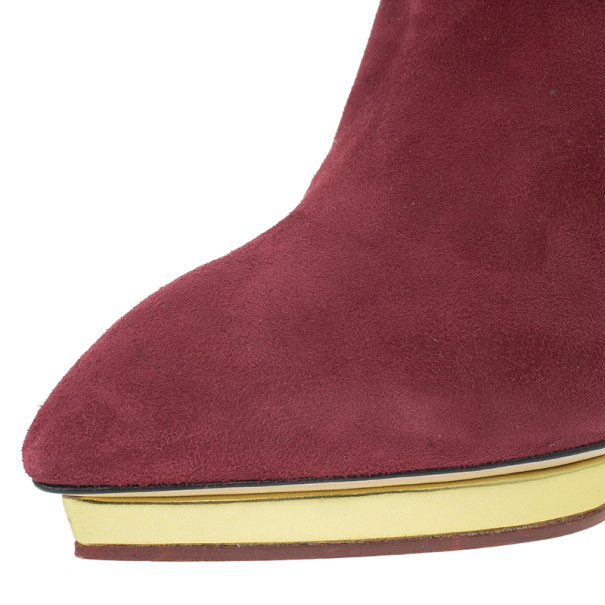Charlotte Olympia Red Suede Deborah Platform Ankle Boots Size 40
