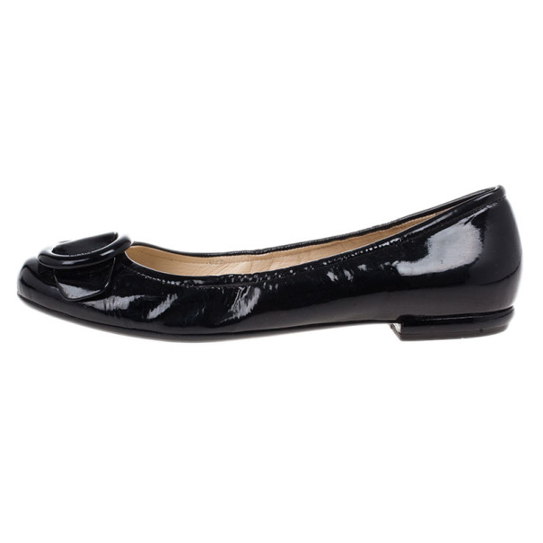 Prada Black Patent Leather Buckle Ballet Flats Size 40.5