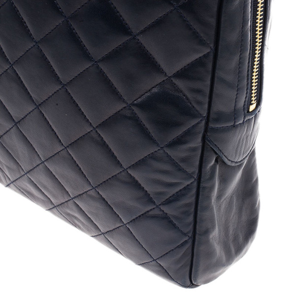 Chanel Navy Blue Lambskin Quilted Large Camera Bag