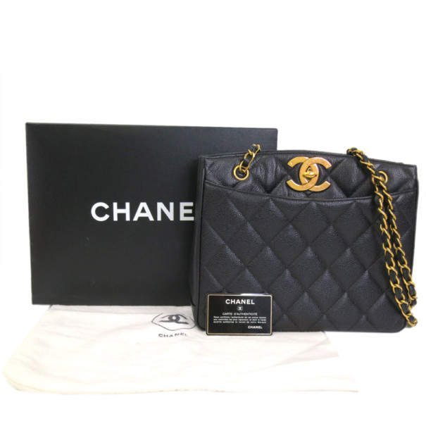 Chanel Black Caviar Shoulder Tote