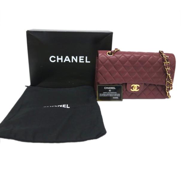 Chanel Maroon Lambskin Matelasse Medium Double Flap Shoulder Bag