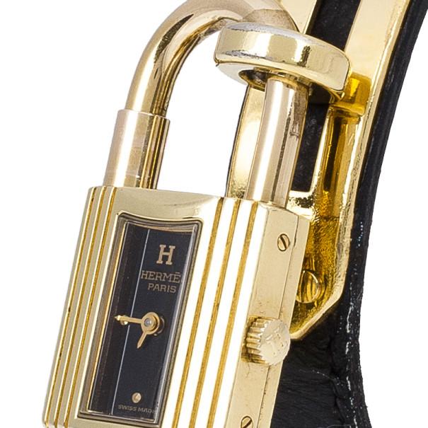 Hermes Black Stainless Steel Kelly Women's Wristwatch 20MM
