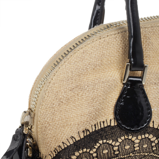 Valentino Beige Nuage Lace and Straw Top Handle Bag