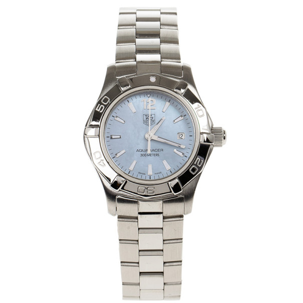 Tag Heuer Blue Stainless Steel Aquaracer Women's Wristwatch 28MM