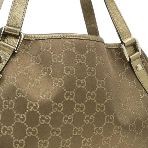 Gucci Gold Metallic GG Crystal Abbey Tote