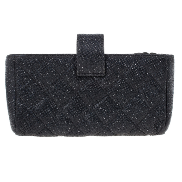 Chanel Black Leather Quilted Smart Clutch