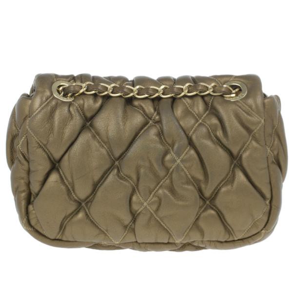 Chanel Gold Leather Bubble Quilt Flap Bag