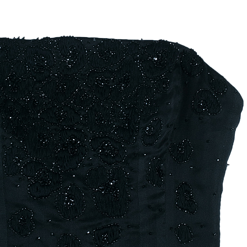 Saint Laurent Paris Black Beaded Crop Top M