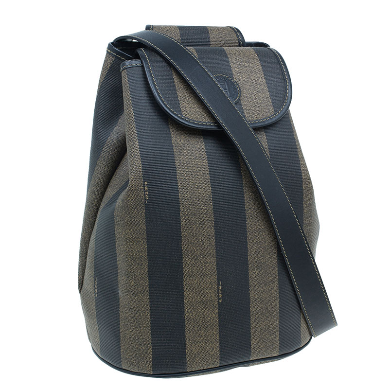 Fendi Vintage Coated Canvas Pequin Cross Over Backpack