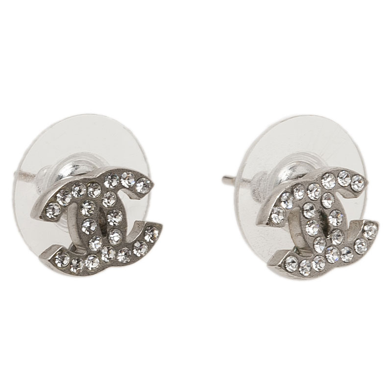Chanel CC Crystal Mini Stud Earrings