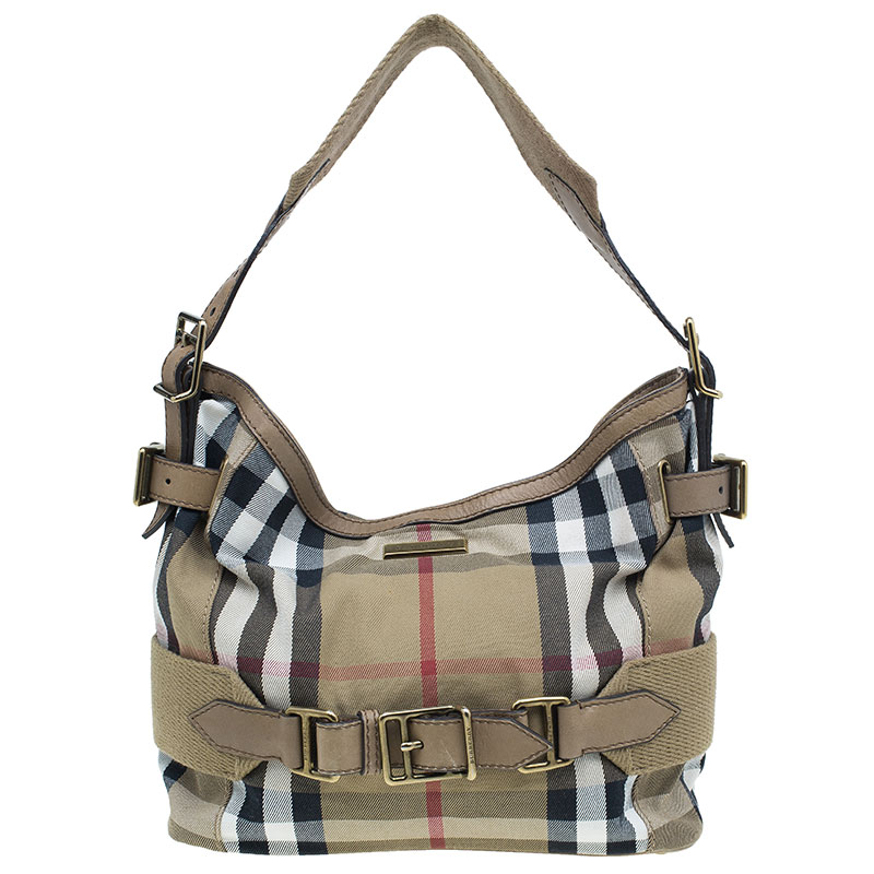 Burberry Beige Canvas House Check Prorsum Vintage Hobo
