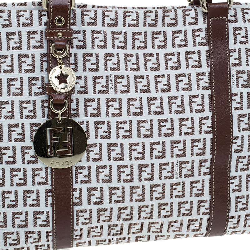 Fendi White Brown Zucchino Canvas Charm Detail Large Tote