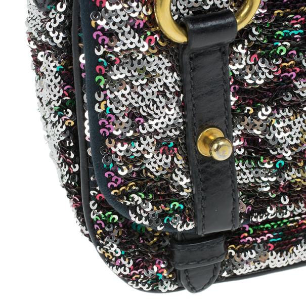 Miu Miu Multicolor Sequin Embellished Leather Bag
