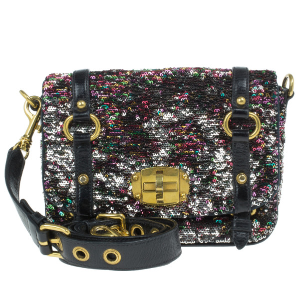 Miu Miu Multicolor Sequin Embellished Leather Bag