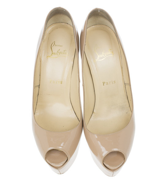 Christian Louboutin Nude Patent Highness Platform Pumps Size 38