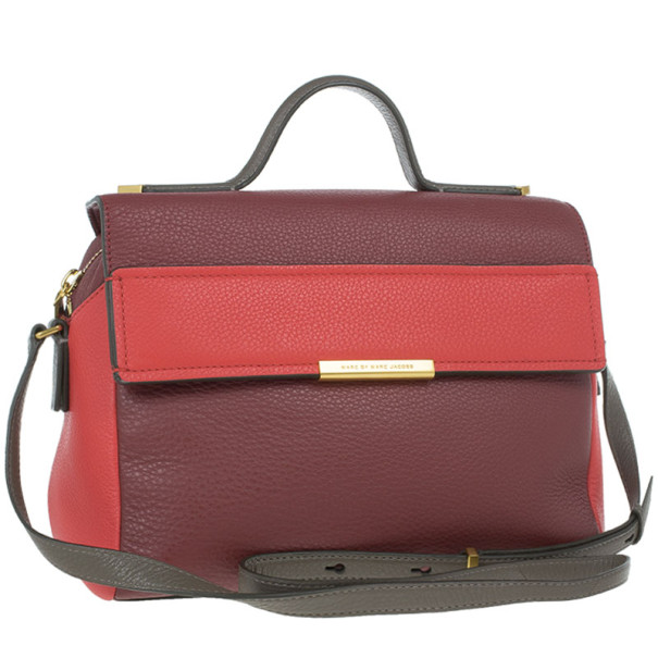 Marc by Marc Jacobs Red And Burgundy Leather Hail To The Queen Diana Satchel
