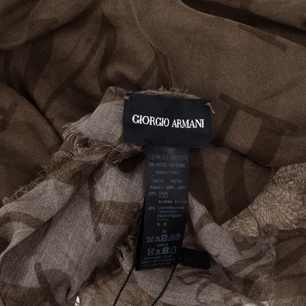 Giorgio Armani Beige Unisex Modal Blend Logo Square Scarf
