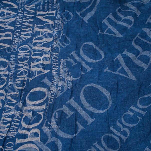 Giorgio Armani Blue Unisex Modal Blend Logo Square Scarf