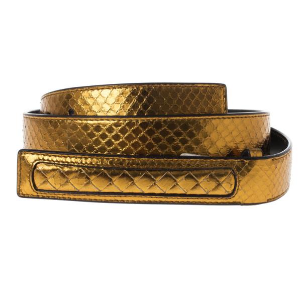 Bottega Veneta Gold Oro Bruciato Ayers Belt 95CM