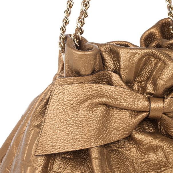 Carolina Herrera Gold Monogram Embossed Bag